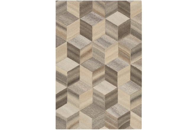 96X120 Rug-Geo Woven Natural Wool - 360