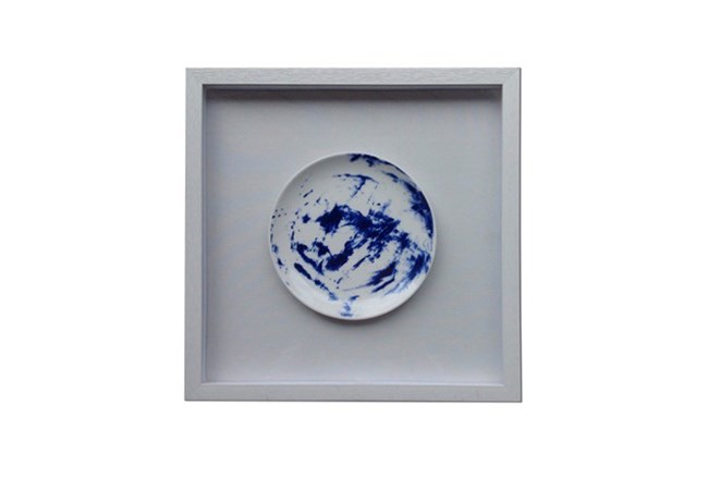 Picture-Blue Framed Plate 16X16 - 360