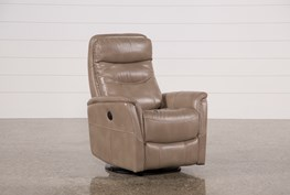 Gannon Linen Power Swivel Recliner W/Built-In Battery