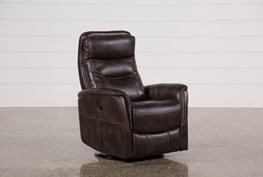 Gannon Truffle Power Swivel Recliner W/Built-In Battery