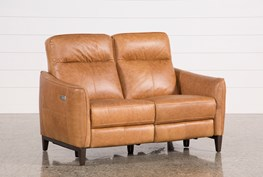 Torben Brown Leather Power Reclining Loveseat W/Usb