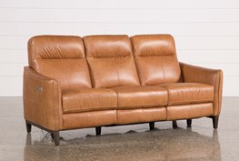 Torben Brown Leather Power Reclining Sofa W/Usb