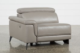 Thatcher Grey Leather Left Facing Power Recliner