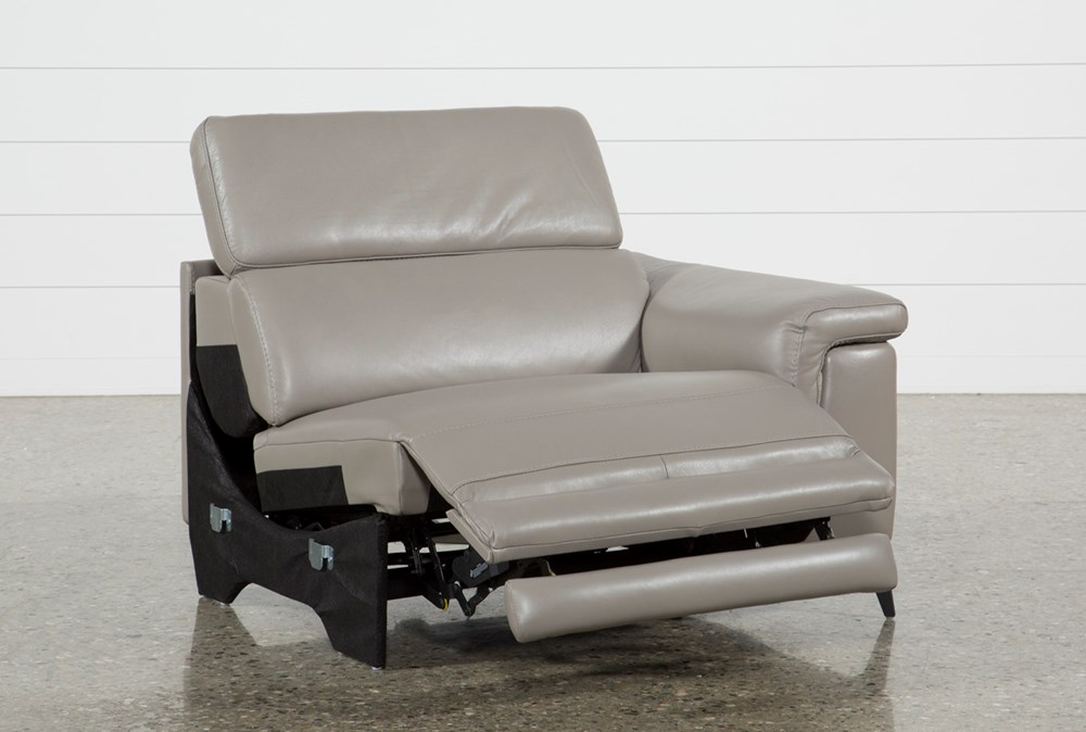 Thatcher Grey Leather Right Facing Power Recliner