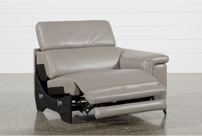 Thatcher Grey Leather Right Facing Power Recliner - 360