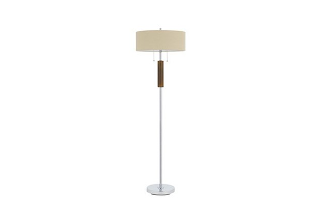 Floor Lamp-Chrome And Wood Spindle - 360