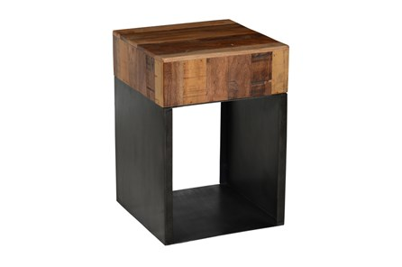 18 Inch Reclaimed Elm & Iron End Table