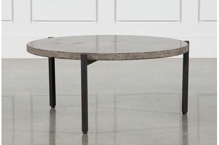 Reclaimed Pine & Iron Coffee Table W/Stone - Main