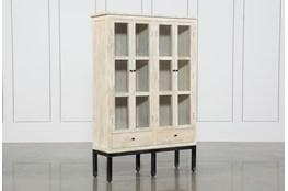 White Wash 4 Door Curio Cabinet