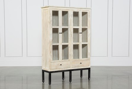 White Wash 4-Door Curio Cabinet