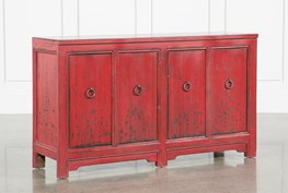 Antique Red 4-Door Buffet