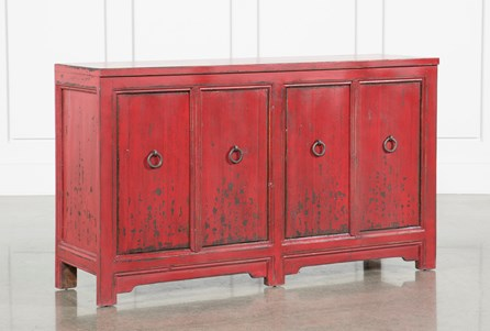 Antique Red 4-Door Buffet