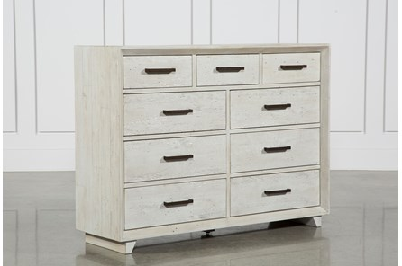 Antiques White Distressed 9-Drawer Dresser - Main