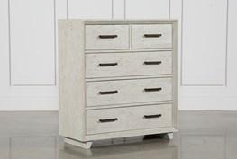 Antique White Distressed 5-Drawer Dresser