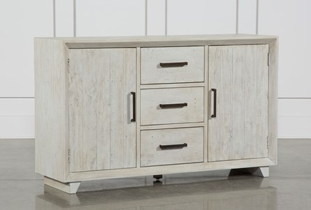 Antique White Distressed 3-Drawer/2-Door Sideboard