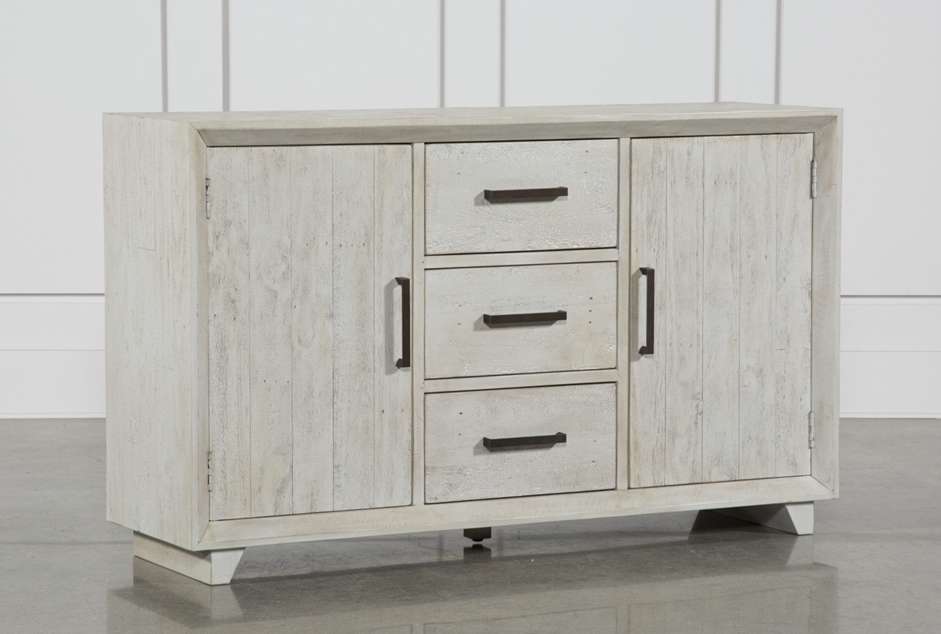 Beau Antique White Distressed 3 Drawer/2 Door Sideboard   360 Elements