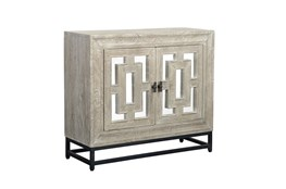 Mirrored Front/Metal Base 2 Door Cabinet