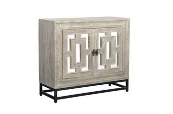 Mirrored Front/Metal Base 2 Door Cabinet