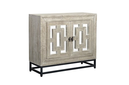Mirrored Front/Metal Base 2 Door Cabinet - Main