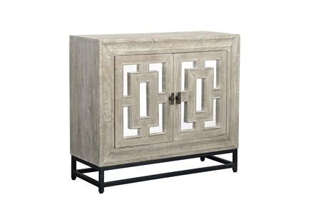 Mirrored Front/Metal Base 2 Door Cabinet - Main