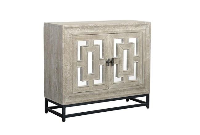 Mirrored Front/Metal Base 2 Door Cabinet - 360