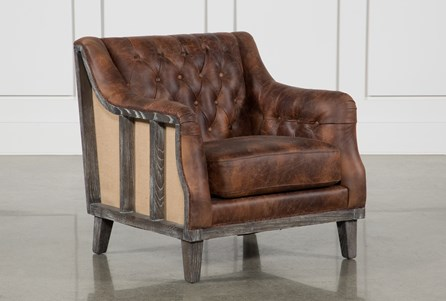 Brown Leather And Wood Club Chair