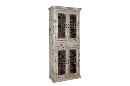 Mango Wood Iron Grill Cabinet - Main