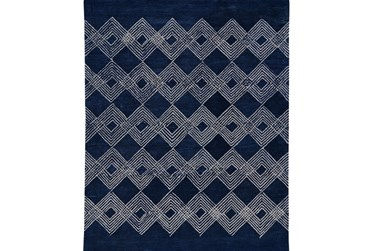 5'x8' Rug-Navy Blue Overlapping Diamonds