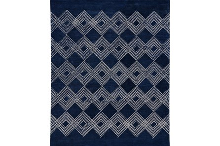 96X132 Rug-Navy Blue Overlapping Diamonds