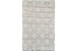 94X117 Rug-Wool And Bamboo Hand Knotted Ice Blue