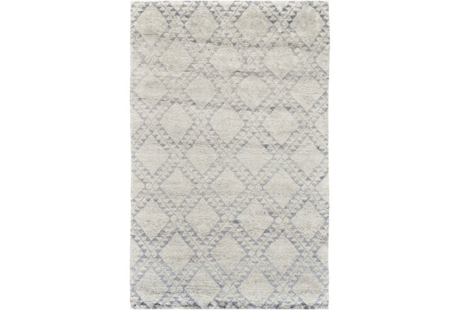94X117 Rug-Wool And Bamboo Hand Knotted Ice Blue - 360