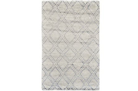 102X138 Rug-Wool And Bamboo Hand Knotted Ice Blue