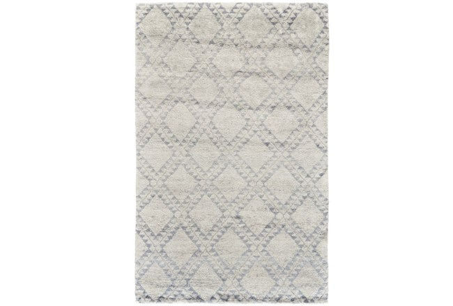 102X138 Rug-Wool And Bamboo Hand Knotted Ice Blue - 360