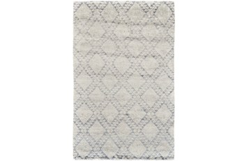 114X162 Rug-Wool And Bamboo Hand Knotted Ice Blue