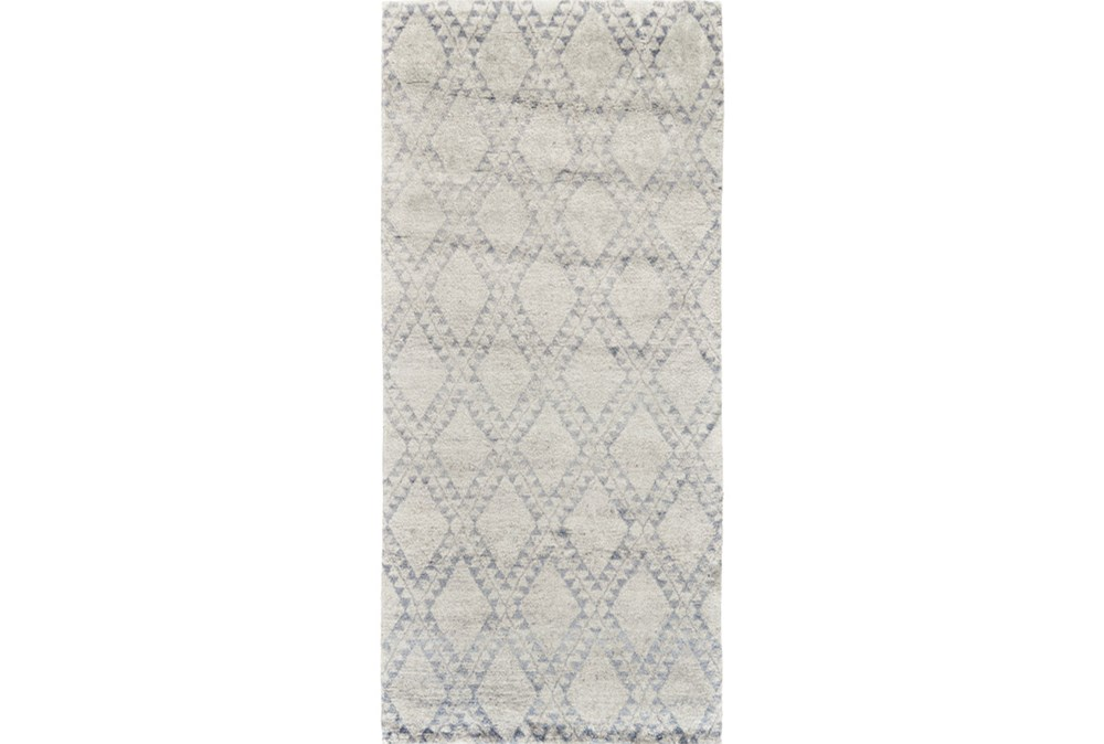 """2'5""""x8' Rug-Wool And Bamboo Hand Knotted Ice Blue"""