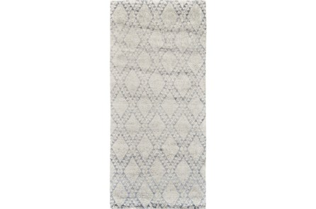 30X96 Rug-Wool And Bamboo Hand Knotted Ice Blue
