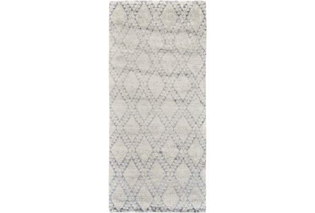 """2'5""""x8' Rug-Wool And Bamboo Hand Knotted Ice Blue - 360"""