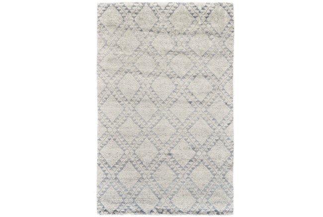 93X117 Rug-Wool And Bamboo Hand Knotted Mushroom - 360