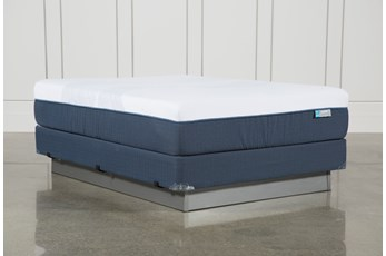 Blue Hybrid Firm Queen Mattress W/Foundation