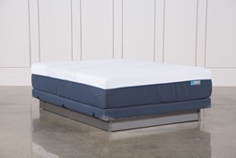 Blue Hybrid Firm Queen Mattress W/Low Profile Foundation