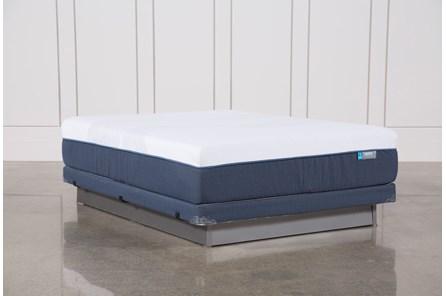 Blue Hybrid Firm Queen Mattress W/Low Profile Foundation - Main