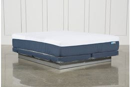 Blue Hybrid Firm Eastern King Mattress W/Low Profile Foundation
