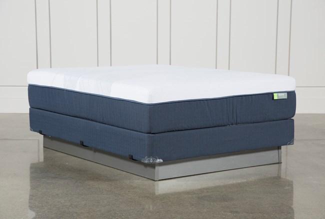 Blue Hybrid Medium Queen Mattress W/Foundation - 360