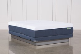 Blue Hybrid Med Queen Mattress W/Low Profile Foundation