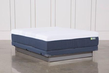 Blue Hybrid Med Queen Mattress W/Low Profile Foundation