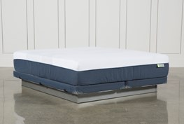 Blue Hybrid Med Cal King Mattress W/Low Profile Foundation