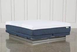 Blue Hybrid Med Cal King Mattress W/Low Profile Foundation