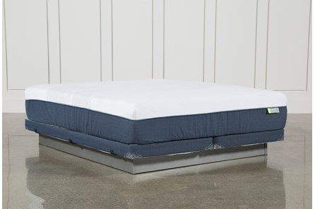 Blue Hybrid Med Cal King Mattress W/Low Profile Foundation - Main