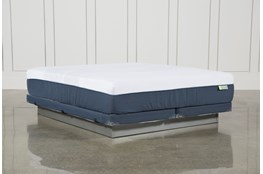 Blue Hybrid Med Eastern King Mattress W/Low Profile Foundation
