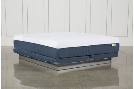 Blue Hybrid Med Eastern King Mattress W/Low Profile Foundation - Main